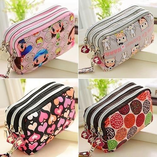 Picture of Europe Style Women Cute Cat Heart Wallet Purse Triple Zipper Clutch Phone Bag Case Organizer
