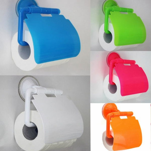 Picture of Toilet Paper Holder Suction Cup Tissue Roll Stand Bathroom Rack