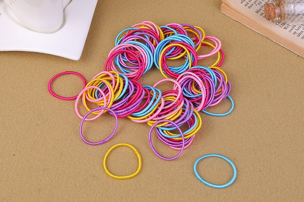 100Pcs/set Korean Fashion Colorful Elastic Hair Ropes Hair Ties Ponytail Holder Hairbands For Baby Girls (Size: Pack of 100, Color: Multicolor)