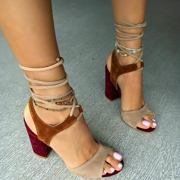 Picture of Splice Color Summer Women Footwear Bohemian Lace-up Sandals