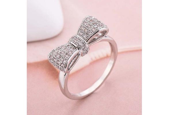 Women Fashion 925 Sterling Silver Bowknot Natural Gemstone White Sapphire Birthstone Bride Princess Wedding Engagement Ring