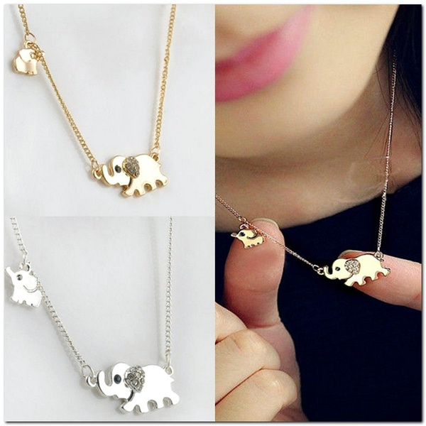 Picture of Lovely Elephant Family Stroll Pandent Fashion Charming Crystal Chain Necklace
