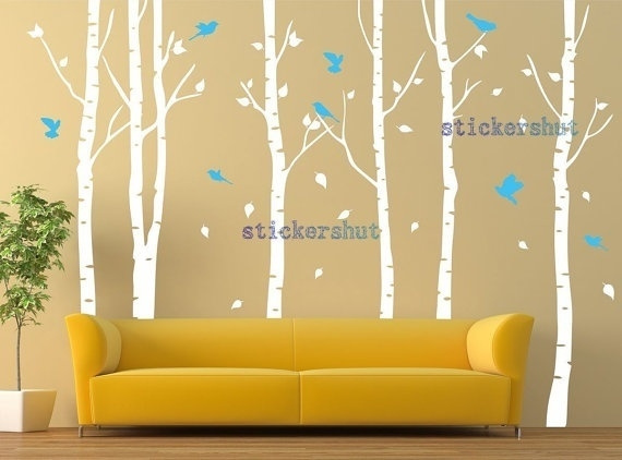 Wish White Birch Tree Vinyl Wall Decals Decal Art For Nursery Stickers Living Room Decor