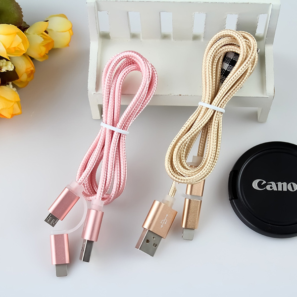 1M 2 in1 Micro USB Cable Lighting Charging Cable Combo Charger Wire For iPhone 5S 6 6Plus 6s 6sPlus for Samsung For Android Phone