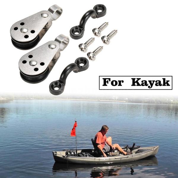 Kayak Canoe Anchor Trolley Kit 2 Stainless Steel Pulleys 2 Nylon Pad Eyes with 4 Stainless Steel Screws