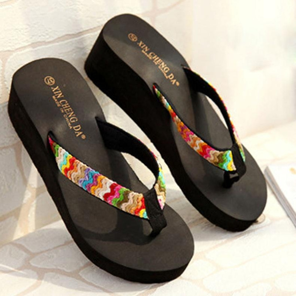 Picture of New Fashion Summer Platform Sandals Beach Flat Wedge Patch Flip Flops Lady Slippers