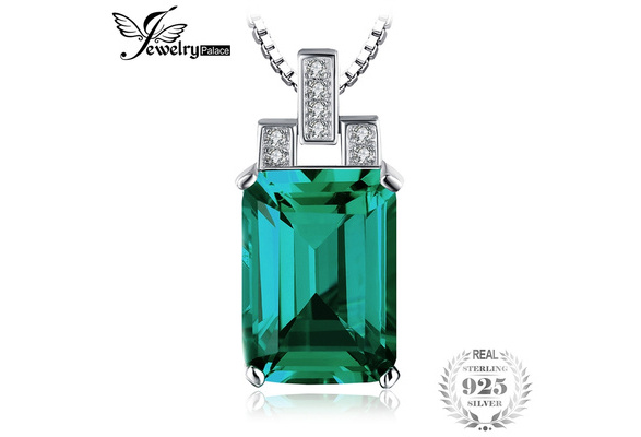 JewelryPalace 6ct Created Green Nano Russian Emerald Pendant 925 Sterling Silver