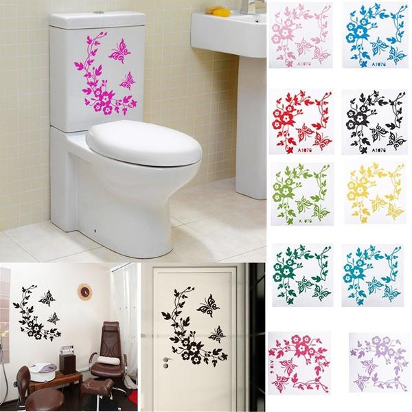Home & Kitchen, Decor, flowersticker, toiletseatsticker