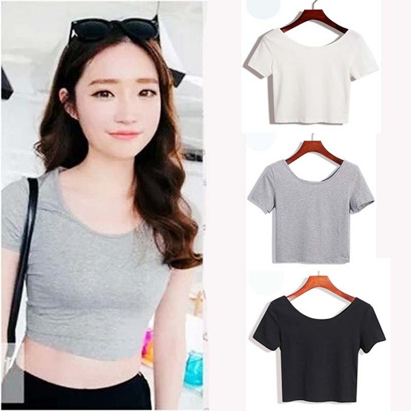 Women Top Cotton Short Sleeve high tight Waist Black
