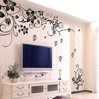 Love Home Hee Grand Removable Vinyl Wall Sticker Flowers and Vine Mural Decal Art Stikers for Wall Decoration