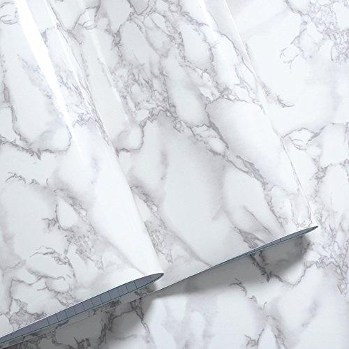 Grey Granite Look Marble Gloss Film Vinyl Self Adhesive Counter Top Peel  and Stick Wall Decal 24''x60''