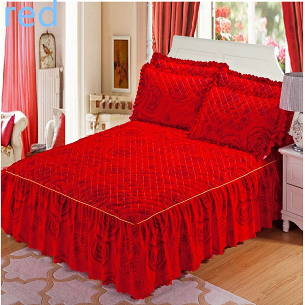 Picture of 100 Cotton Flower Color Lace Bedskirt Korean Princess Style Bed Skirt Not Contain Pillowcase 120x200 / 150x200 / 180x200 / 200x220 Cm
