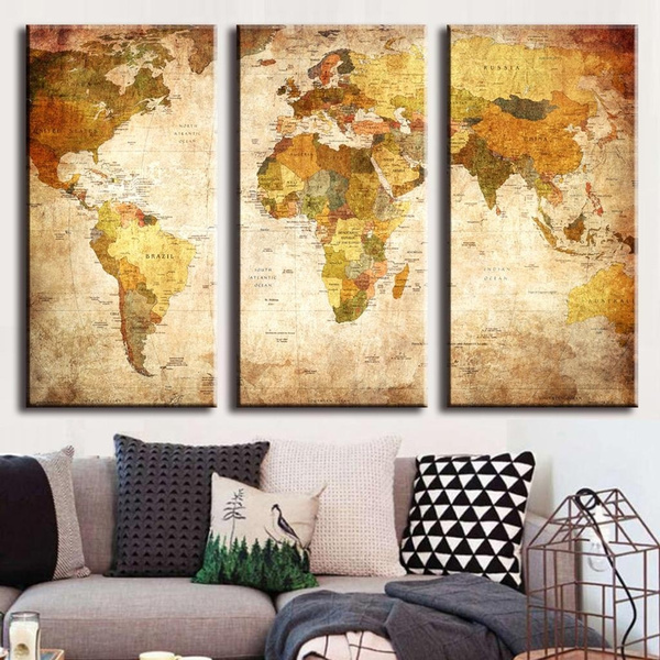 Wish | 3 Pcs/Set Vintage Oil Painting Framed Canvas Wall Art Picture ...