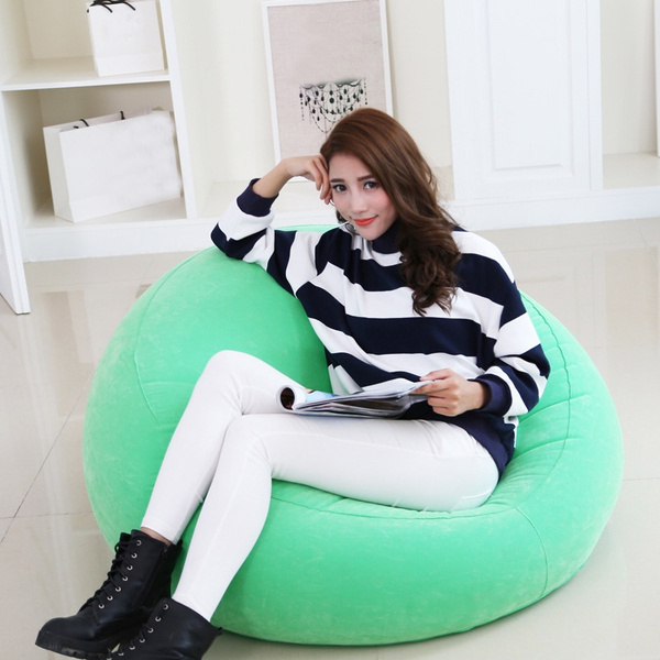 Wish New Design Pvc Round Inflatable Sofa Self Bean Bag Chair