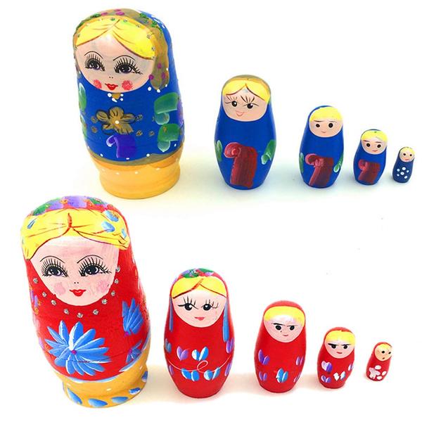 5Pcs Wooden Dolls Matryoshka Nesting Russian Babushka Hand Painted Toy Gift
