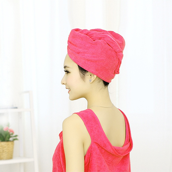 Strong Water Absorbing Microfiber Dry Hair Towel Wrap Bathing Shower Cap