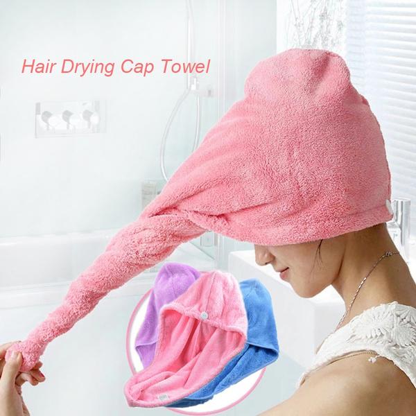 Strong Water Absorbing Microfiber Dry Hair Towel Wrap Bathing Shower Cap