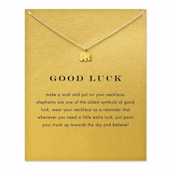 Sparkling Good Lucky Elephant Pendant Necklace Gold Plated Clavicle Chains Women Jewelry(Card is include.have other 10 new styles for select,Size Number=Style Number)