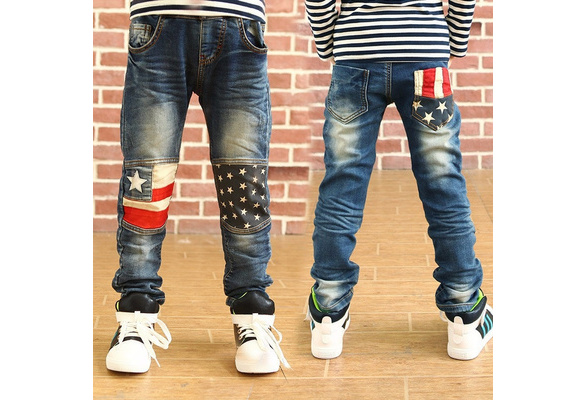 Retail High quality spring kids pants boys girls baby jeans children jeans for boys casual denim pants 3-12Y toddler clothing