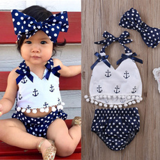 Cute Baby Girls Clothes Anchors Tops+Polka Dot Briefs+Head Band 3pcs Outfits Set
