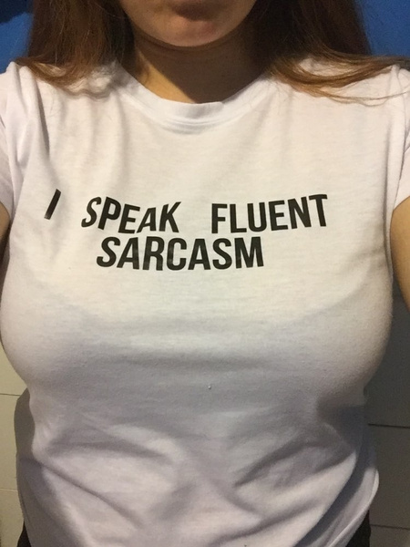 Plus Size I SPEAK FLUENT SARCASM Women Summer Top Letters Print T Shirt Sexy Slim Funny Top Tee 3 Colors