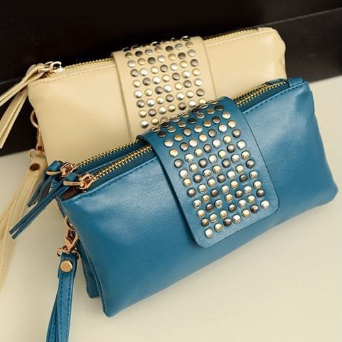 Picture of Fashion Women's Rivet Zipper Wallet Holder Card Coin Clutch Purse Wristlet Evening Bag