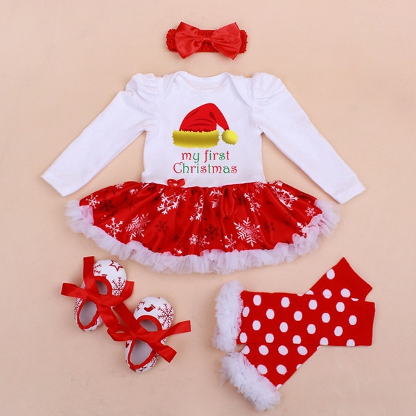 Wish | My First Christmas Costumes 4pcs Infant Toddler Baby Girls ...