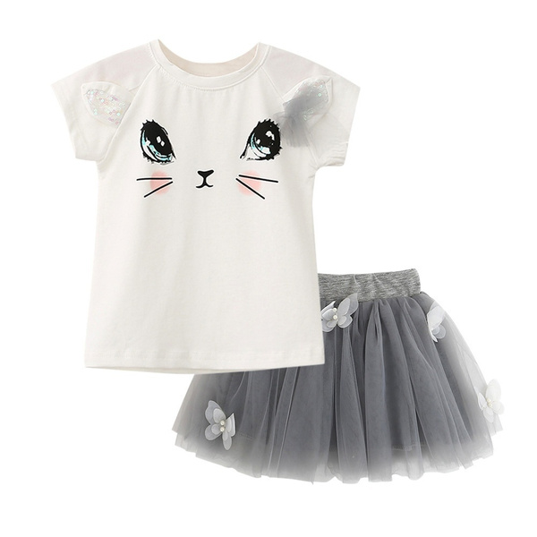 New Kids Girls Cat T-Shirts+Net Veil Tutu Skirt Short Sleeve Cartoon Kitten Printed Clothes Set