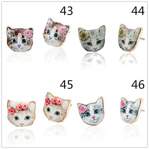 1 Pair Lovely Cat Dog Delicate Manual Cartoon Stud Earrings