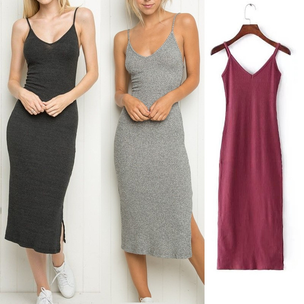 07d78e4af8e70 Sexy Deep V Neck Spaghetti Strap Stretch Midi Dress 2016 New Women Brandy  Melville AA Package Hips Side Slit Dresses 5 Colors