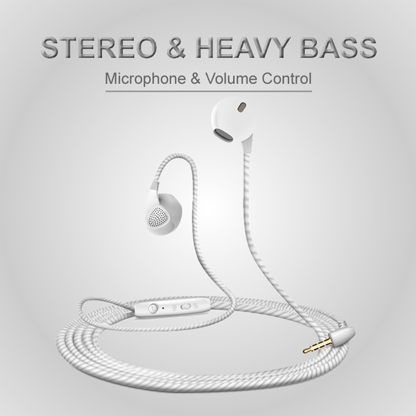 Picture of In-ear Earphone Earbuds Sport Headphones Stereo Bass Music Headset With Built-in Microphone Noise Cancelling Koptelefoon Cell Phone Earphones Auricular Fone De Ouvido Casque De Musique Hrlur For Iphone Ipad Ipod Samsung Galaxy Phones Android Smartphones Tablets Computers Mp3 Players