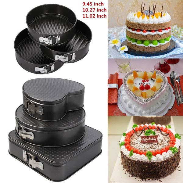 Round /& Heart Shaped Pack of 3 Non-Stick Springform Cake Tins for Baking Square