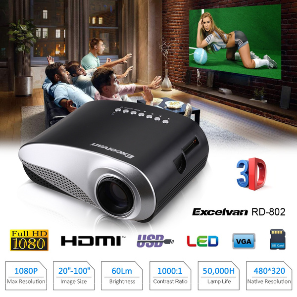 Picture of Excelvan Hot Led Lcd Projector 480320 720p Usb Vga Home Theater Multimedia Player