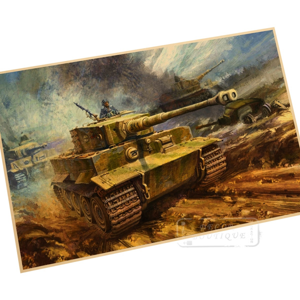 Vintage Retro Kraft Paper World War II tank collection Home Decor Antique Poster