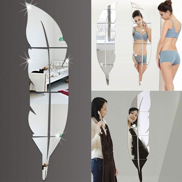 Picture of Stickers Diy Modern Plume Feather Acrylic Mirror Wall Stickers Fashion Room Decoration