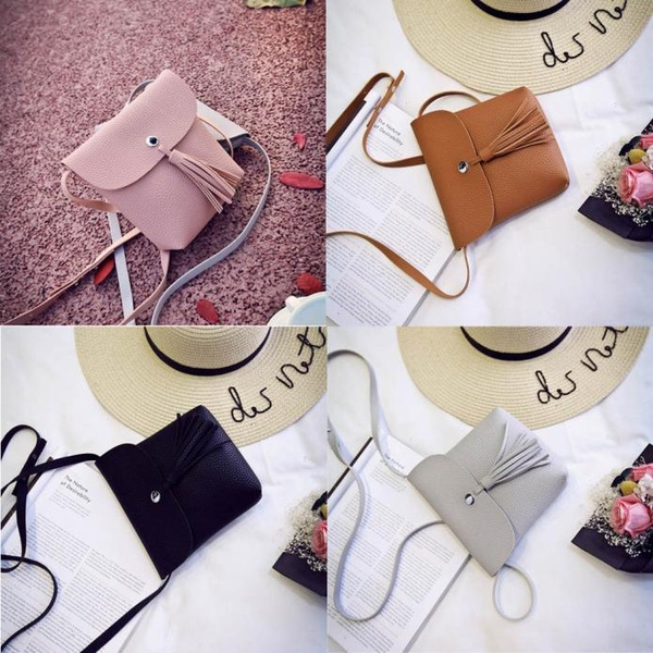 Picture of Amazing 1pc Tassel Mini Small Shell Bags Candy Chain Women's Leather Messenger Bags