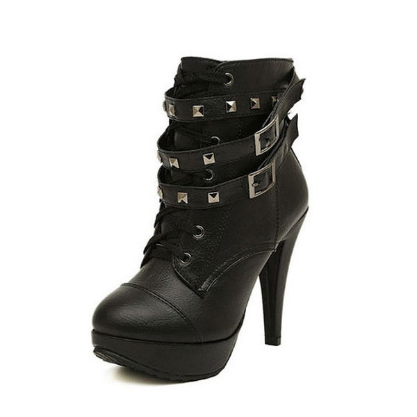 Sexy Biker Bloggers Plateau Pumps Women's Ankle Boots Shoes with Rivets Stilettos Lace-up