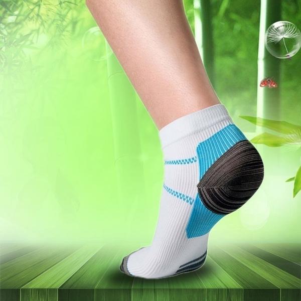 Sport Veins Socks Plantar Absorbing Sweat Running Socks for Plantar Fasciitis Arch Pain (Color: White)