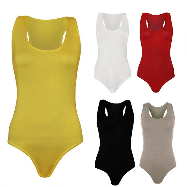 Women Racer Muscle Back Bodysuit Ladies Sleeveless Stretch Leotard Vest Top New