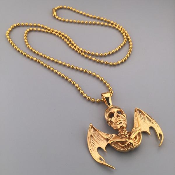 Wish grim reaper death skeleton skull bat wings tattoo 30 pendant wish grim reaper death skeleton skull bat wings tattoo 30 pendant chain necklace aloadofball Gallery