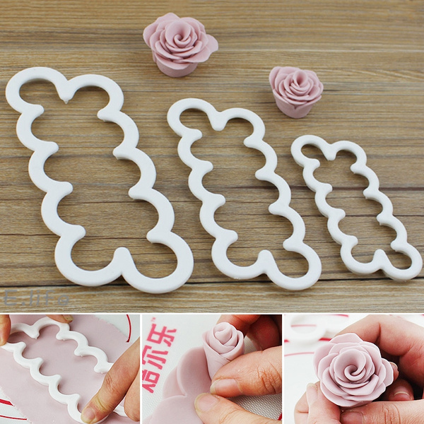 Picture of 3x Silicone 3d Rose Flower Fondant Cake Chocolate Sugarcraft Mould Mold Decor Tool