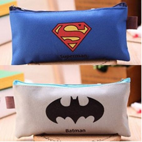 Picture of Cute Batman Superman School Pencil Case Cartoon Hero Pencil Case For Girls Kawaii Stationery Bag