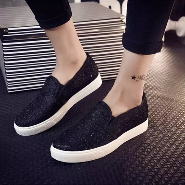 Picture of Fast Shipping 4-21 Days Fashion Women Shoes Casual Flat Shoes Canvas Shoes For Women Sequin Loafers Slip On Shoes