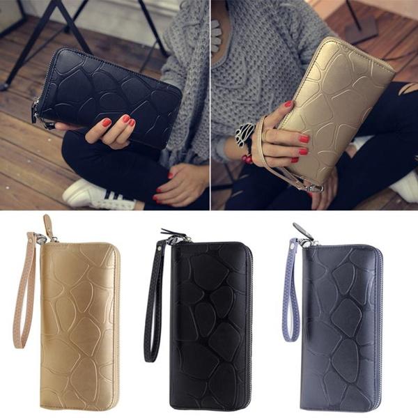 Picture of Fashion Korean Lady Women Zipper Designer Clutch Long Purse Leather Wallet Card Holder Handbag Bag