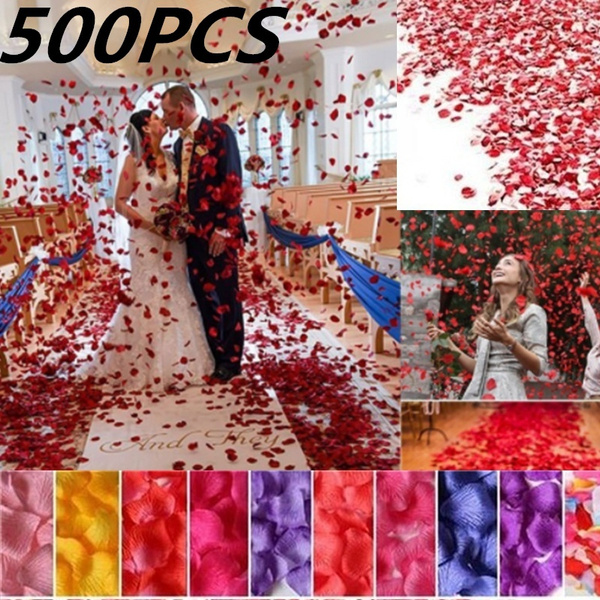 Picture of 500pcs Silk Rose Flower Petals For Wedding Party Table Decorations
