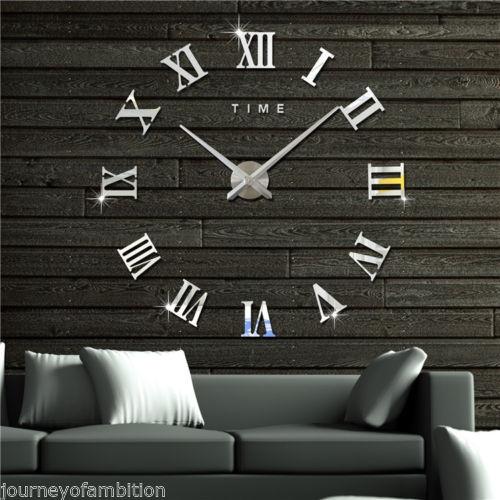 wish | design diy 3d wand uhr wohnzimmer wanduhr spiegel edelstahl ... - Wohnzimmer Wanduhr