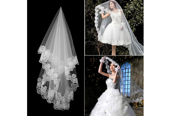 Elegant 1 Layer White/Ivory Elbow Tulle Lace Edge Bride Wedding Bridal Long Veil ANG