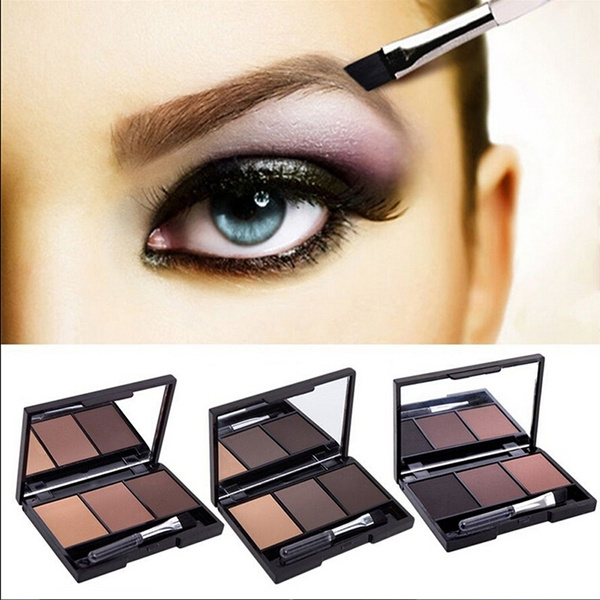 Picture of 3 Colors Eyebrow Powder Palette Makeup Kit + Brush Mirror Long-lasting U3c3 Bgh