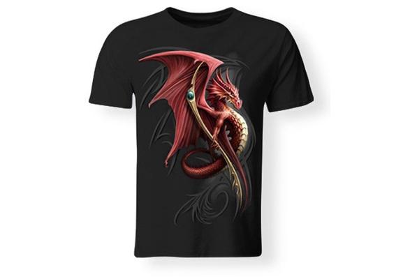 Men's T-shirt, Dragon Print, Cotton, Black, S-XXXL