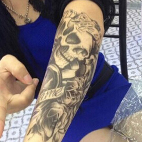 Wish Sexy Black Skull Shoulder 3d Tattoo Waterproof Temporary